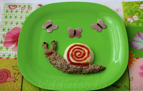 Snail and butterflies - mashed potato and mushrooms