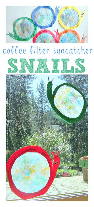 Coffee Filter Crafts - Snail Suncatchers