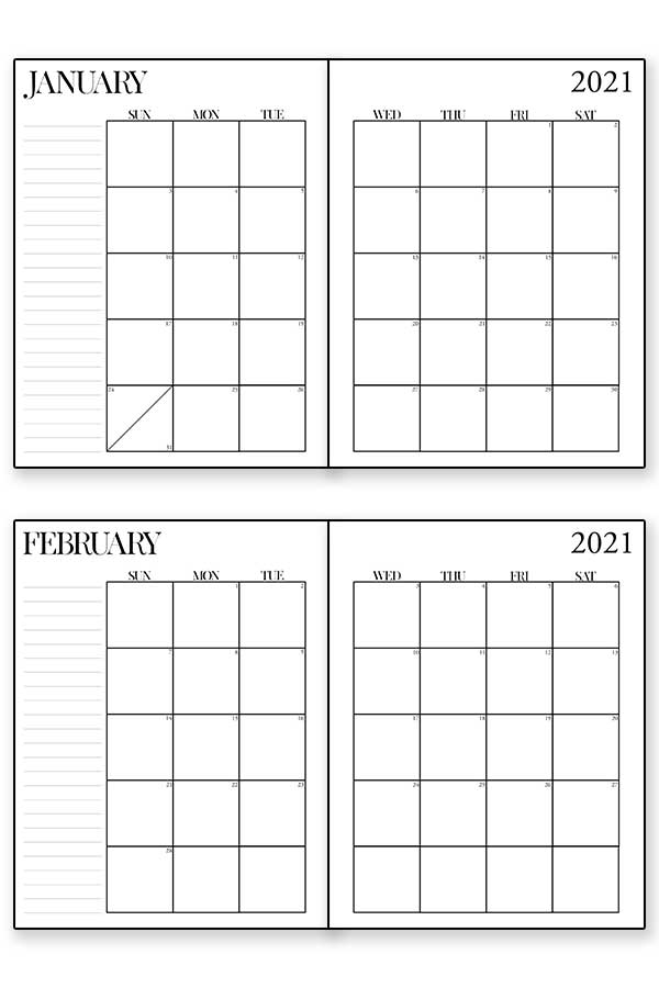 Example of a 2021 free printable calendar from this downloadable set. Black text on white background. January and February month.