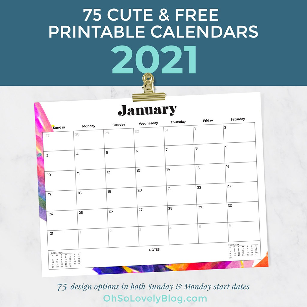 Free Printable 20 Calendars